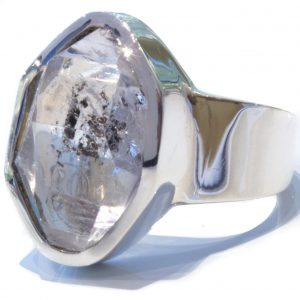 Herkimer Diamond In Handmade Silver Ring