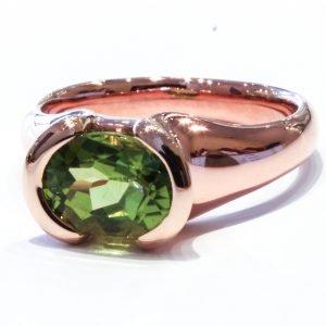 Peridot in Handmade Rose Gold Ring