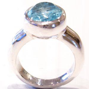 Aquamarine in Handmade Silver Ring