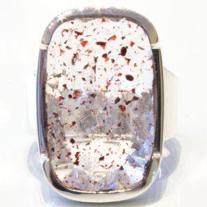Red Hematite in Clear Quartz Handmade Ring