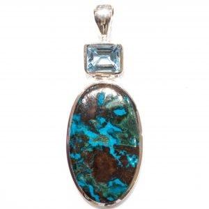 Blue Topaz and Chrysocolla Handmade Pendant