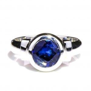 Faceted Kyanite in Handmade Silver Ring