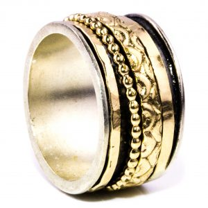 Israeli Gold and Silver Spinner Ring