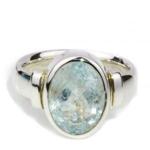 Oval Aquamarine Silver Ring