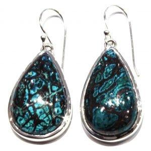 Chrysocolla Handmade Earrings in Silver