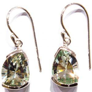 Green Amethyst Laser Faceted Silver Earrings