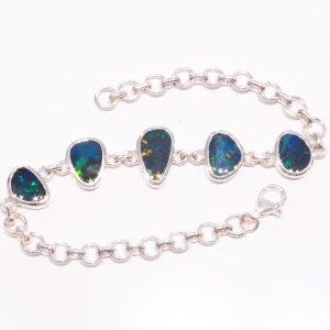 Handmade Sterling Silver Bracelet With Blue Australian Opals
