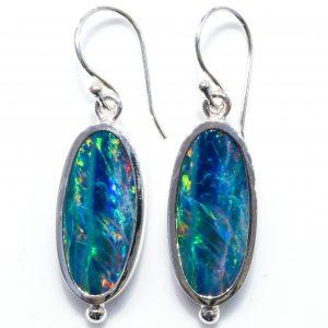 Australian Opal Handmade Silver Earrings