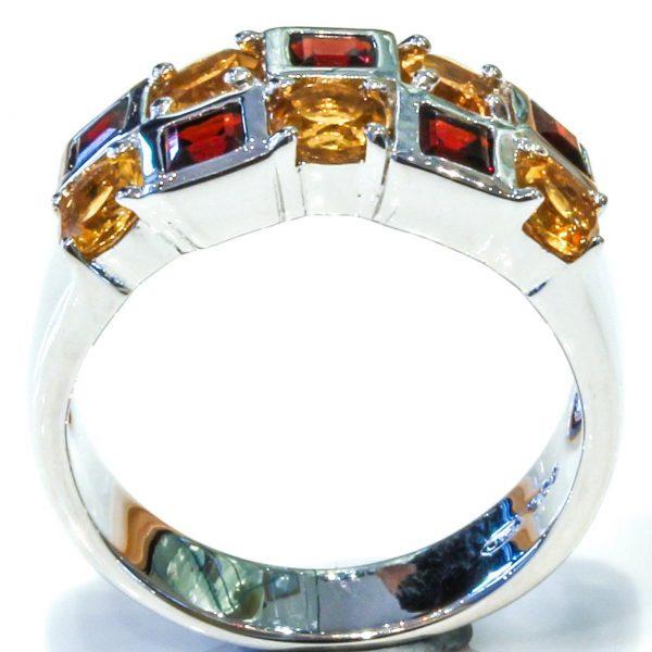 Garnets and Citrine Handmade Silver Ring