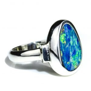 Silver Ring With Black Opal