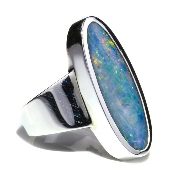 Australian Black Opal Silver Ring