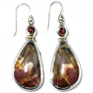 Garnets and Mookaite Handmade Silver Earrings