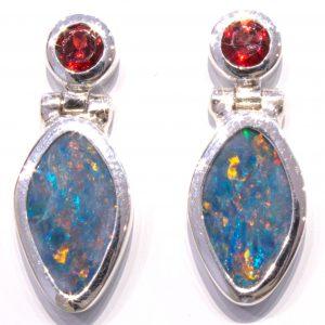 Garnet and Opals Handmade Studs