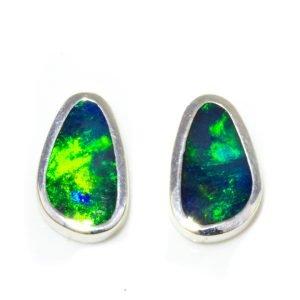 Australian Black Opal Handmade Studs