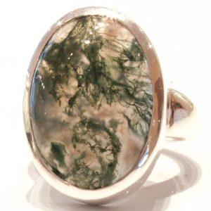 Moss Quartz Handmade Silver Ring
