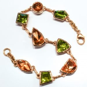 Peridots and Citrines Handmade Gold Bracelet