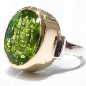 Handmade Peridot Ring in Yellow Gold And Sterling Silver