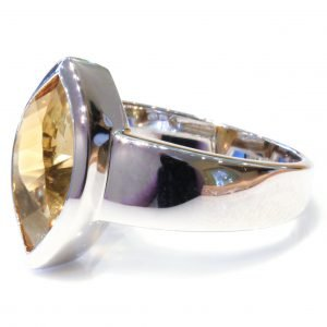 Contemporary Handmade Silver Ring with Citrine