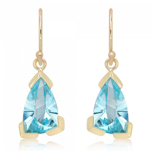 Laser Faceted Blue Topaz Earrings in Gold