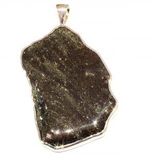 Specular Hematite Handmade Silver Pendant