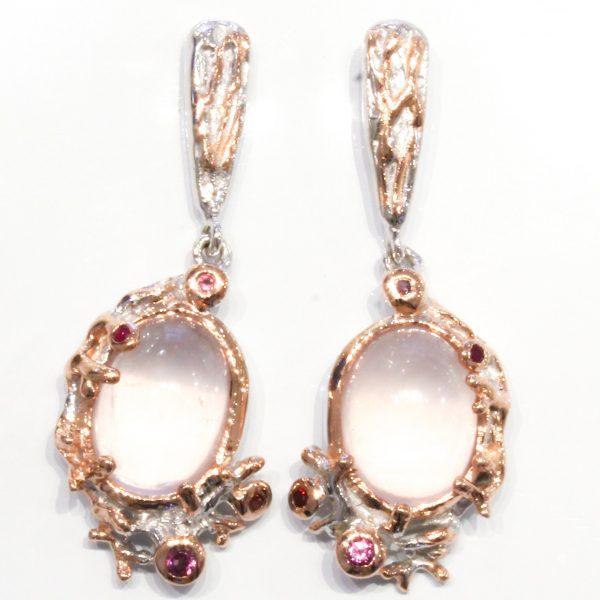 Rose Quartz, Garnets and Sapphires Earrings