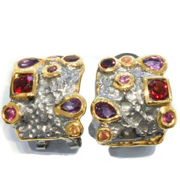 Amethyst, Garnet and Sapphires Earrings