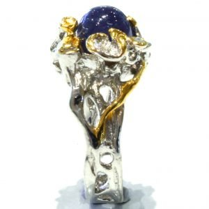 Blue Sapphire and Blue Topaz Unique Ring