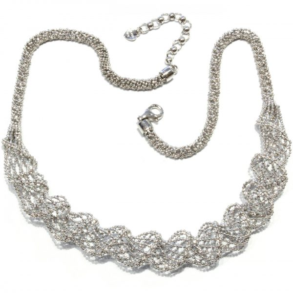 Unique Silver Mesh Necklace