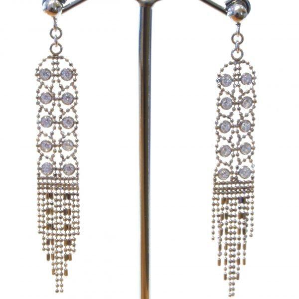 Elegant Mesh Silver Earrings with Zirconia