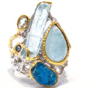 Organic Aquamarine and Apatite Handmade Ring