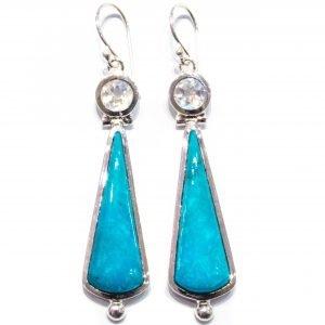Rainbow Moonstone and Turquoise Handmade Earrings