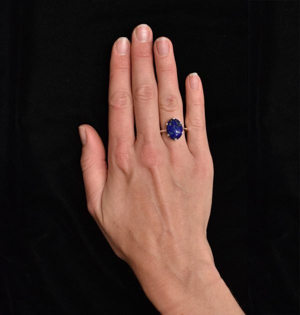 Oval Lapis Lazuli Handmade Silver Ring