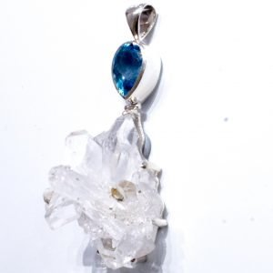 Crystal Cluster and Blue Topaz Pendant