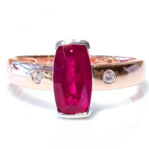 Natural Ruby in White and Rose Gold Ring