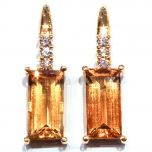 Citrines and Diamonds Handmade Gold Earrings