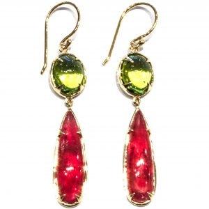 Peridot and Rhodonite Handmade Gold Earrings