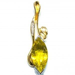 Yellow Tourmaline in 18 Ct Gold Pendant