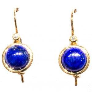 Lapis lazuli and Diamonds Gold Earrings