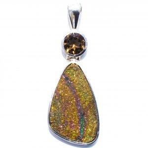 Rainbow Pyrite Handmade Pendant in Silver