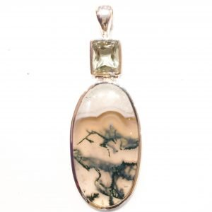 Green Amethyst And Moss Agate Pendant