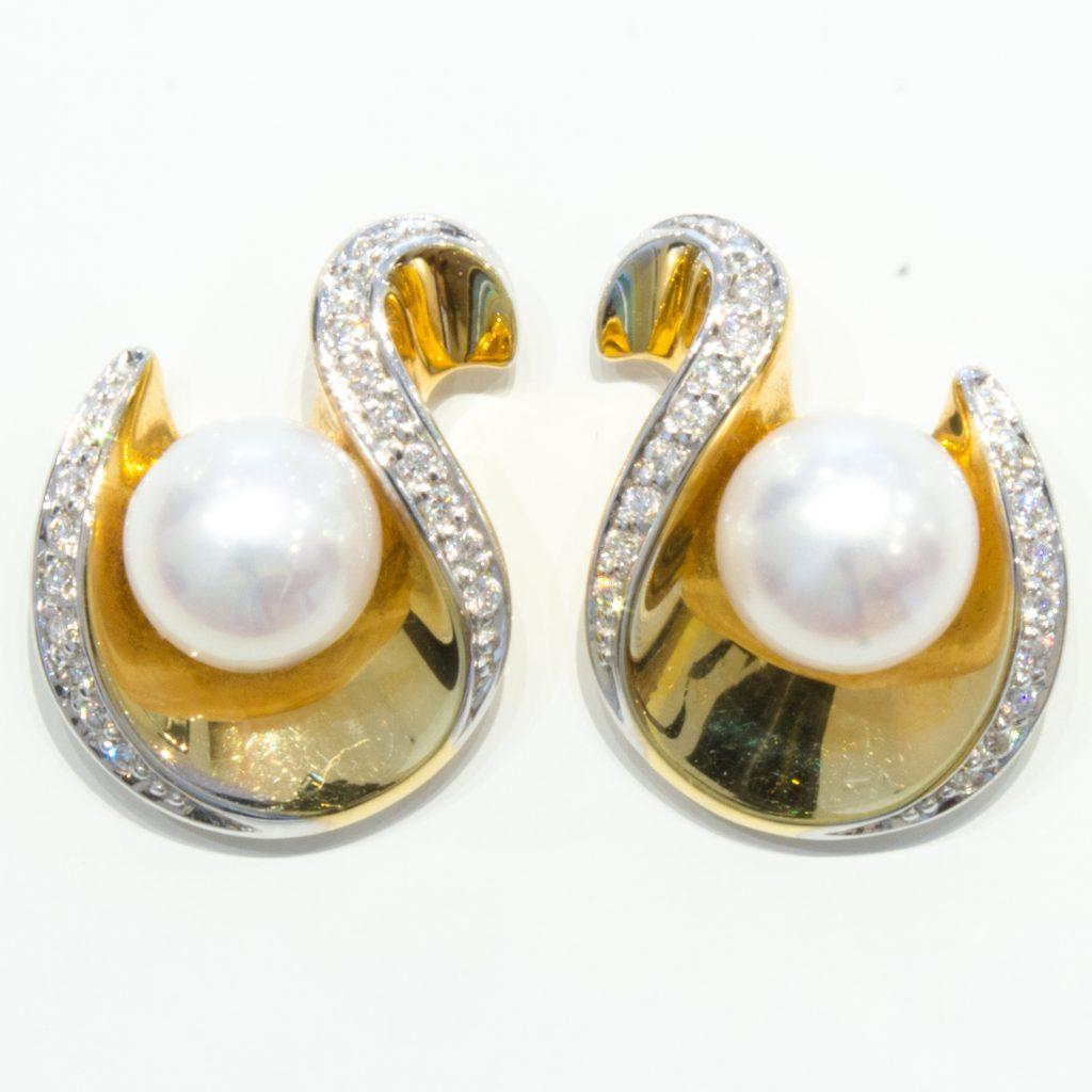 Pearls and Diamonds Handmade Gold Studs