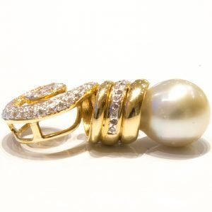 Cultured Pearl and Diamonds Handmade Gold Pendant