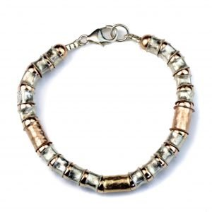 Rose Gold and Silver Handmade Bracelet