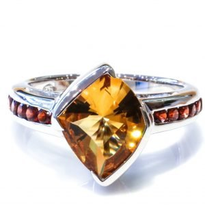 Special Faceted Citrine and Garnet Ring