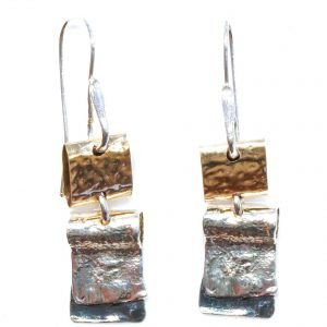 Israeli Gold and Silver Drop Earrings