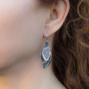 Contemporary and Rustic Gold and Silver Earrings