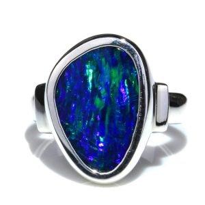 Blue Green Australian Opal Silver Ring