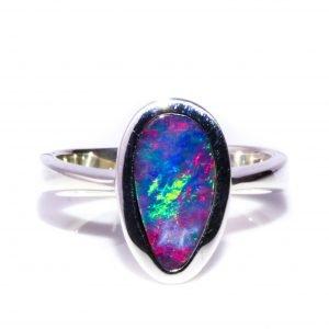 Bright Australian Opal Handmade Ring