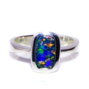 Blue Green Rectangular Australian Opal Ring in Sterling Silver