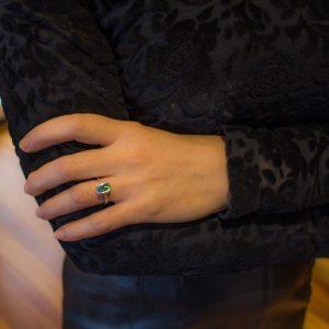 Blue Green Rectangular Australian Opal Ring